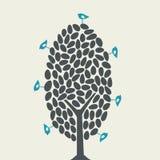 Vector o pássaro e a árvore Fotos de Stock Royalty Free