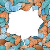 Vector o quadro com teste padrão abstrato de linhas onduladas ao estilo das garatujas Fotografia de Stock Royalty Free