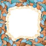 Vector o quadro com teste padrão abstrato de linhas onduladas ao estilo das garatujas Imagem de Stock Royalty Free