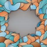 Vector o quadro com teste padrão abstrato de linhas onduladas ao estilo das garatujas Fotografia de Stock