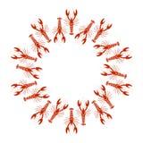 Vector o quadro das lagostas ou da lagosta no fundo branco Foto de Stock Royalty Free