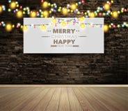 Vector o quadro de avisos ou o cartaz vazio na sala da parede com luzes de Natal ilustração do vetor