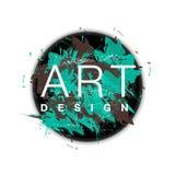 Vector o quadro do círculo com fundo da escova de pintura e projeto da arte do texto Cor verde da tampa abstrata e marrom gráfica Imagens de Stock