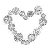 Vector o quadro do coração com os botões de pano no estilo do boho Fotografia de Stock