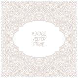 Vector o quadro floral do vintage no fundo branco na mono linha estilo fina Fotos de Stock