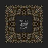 Vector o quadro floral do vintage no fundo preto na mono linha estilo fina Imagens de Stock Royalty Free
