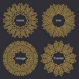 Vector o quadro geométrico na mono linha estilo na moda Imagens de Stock Royalty Free