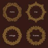 Vector o quadro geométrico na mono linha estilo na moda Foto de Stock Royalty Free