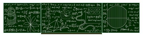 Vector o quadro-negro da escola com cálculos matemáticos escritos à mão, lotes, fórmulas Foto de Stock