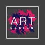 Vector o quadro quadrado com fundo da escova de pintura e projeto da arte do texto Cor azul da tampa abstrata e cor-de-rosa gráfi Imagens de Stock