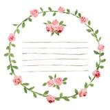 Vector o quadro redondo da aquarela com rosas e elementos da folha Beira floral da tração da mão Imagens de Stock Royalty Free
