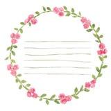 Vector o quadro redondo da aquarela com rosas e elementos da folha Beira floral da tração da mão Fotos de Stock Royalty Free