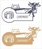 Vector o queijo, a vaca e a exploração agrícola da imagem na cor azul e bege fotos de stock royalty free