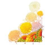 Vector o ramalhete de canto com a flor do áster do esboço, as folhas ornamentado e o botão em alaranjado e no vermelho coloridos  Ilustração do Vetor