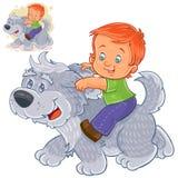 Vector o rapaz pequeno que senta-se em um cão grande e que aferra-se a suas orelhas ilustração do vetor