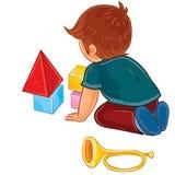 Vector o rapaz pequeno que senta-se no assoalho e que joga com cubos do bebê ilustração royalty free