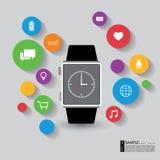 Vector o relógio esperto com apps e função da tecnologia Foto de Stock