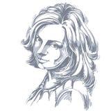 Vector o retrato da mulher atrativa, ilustração de bom-lookin ilustração stock