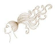 Vector o retrato de uma menina preta com cabelo longo. Foto de Stock Royalty Free