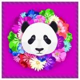 Vector o retrato de uma panda entre as flores Cores bonitas, brilhantes Quadro da flor, borda Retratos simétricos dos animais Fotografia de Stock Royalty Free