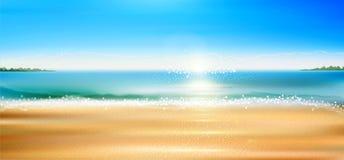 Vector o seascape com praia, areia, mar ilustração royalty free