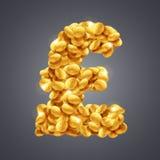 Vector o sinal de libra esterlina feito de uma grande quantidade de moedas douradas ilustração do vetor
