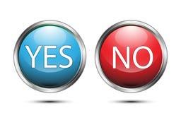 Vector o sinal do botão sim e não no fundo branco Foto de Stock Royalty Free