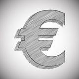Vector o sinal estilizado do EURO no estilo do desenho de lápis Fotografia de Stock