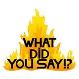 Vector o sinal Que você disse!? Imagens de Stock Royalty Free