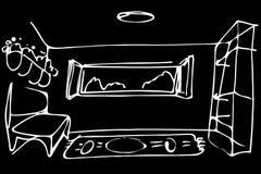 Vector o sofá da sala do esboço pela janela aberta Fotografia de Stock Royalty Free