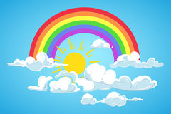 Vector o sol, o arco-íris e o céu azul das nuvens Foto de Stock