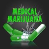 Vector o sthestoscope no fundo médico do quadro do conceito da marijuana da droga Foto de Stock Royalty Free