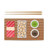 Vector o sushi e os rolos ajustados isolados no branco Fotos de Stock