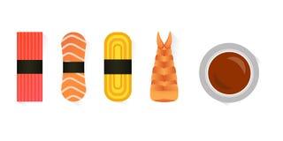 Vector o sushi e os rolos ajustados isolados no fundo branco Imagem de Stock Royalty Free
