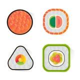 Vector o sushi e os rolos ajustados isolados no fundo branco Imagens de Stock Royalty Free