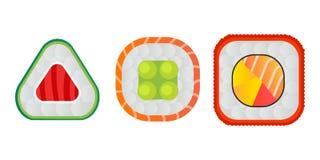 Vector o sushi e os rolos ajustados isolados no fundo branco Fotos de Stock