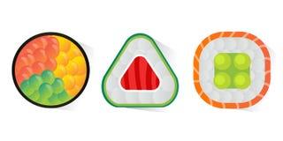 Vector o sushi e os rolos ajustados isolados no fundo branco Fotografia de Stock