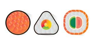 Vector o sushi e os rolos ajustados isolados no fundo branco Foto de Stock Royalty Free