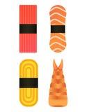 Vector o sushi e os rolos ajustados isolados no fundo branco Imagens de Stock