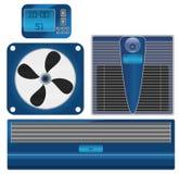 Vector o termômetro e o condicionamento de ar de Digitas Fotografia de Stock