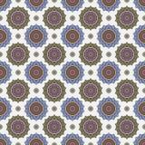 Vector o teste padrão étnico do boho, mandala em um fundo azul O teste padrão sem emenda oriental azul circular Fotografia de Stock Royalty Free