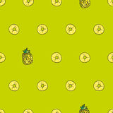Vector o teste padrão brilhante sem emenda, com abacaxi suculento Desenhado por H Foto de Stock Royalty Free