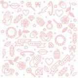 Vector o teste padrão com as frases do ícone e da mão-rotulação relativas ao poder da menina e movimento feminista - fundo abstra Fotografia de Stock