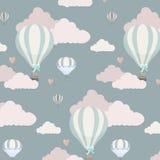 Vector o teste padrão com balão, nuvens e animais Imagens de Stock Royalty Free