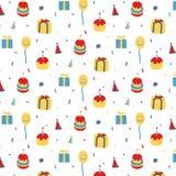 Vector o teste padrão com bolo de aniversário, presente, balão, chapéu no fundo branco Llustration tirado mão Fotos de Stock Royalty Free