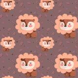 Vector o teste padrão com o leão bonito nas folhas cor-de-rosa do fundo e do carvalho Foto de Stock Royalty Free