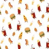vector o teste padrão com pizza, Hamburger, batatas fritas, frango frito, gelado, hotdog, bebida da soda no fundo branco Ilustraç Fotos de Stock