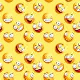 Vector o teste padrão contínuo do papel de parede dos smiley com expressões faciais sem emenda Fotografia de Stock