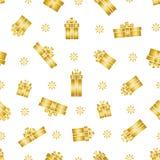 Vector o teste padrão da caixa de presente, caixas de presente do ouro e flocos de neve sem emenda Imagens de Stock