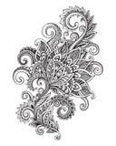 Vector o teste padrão de flor ornamentado tirado mão no estilo do zentangle ilustração royalty free